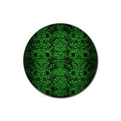 Damask2 Black Marble & Green Brushed Metal Rubber Coaster (round)