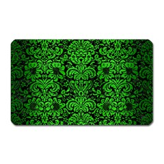 Damask2 Black Marble & Green Brushed Metal Magnet (rectangular)