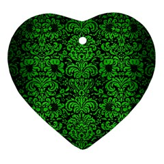 Damask2 Black Marble & Green Brushed Metal Heart Ornament (two Sides)