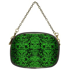 Damask2 Black Marble & Green Brushed Metal Chain Purses (one Side)