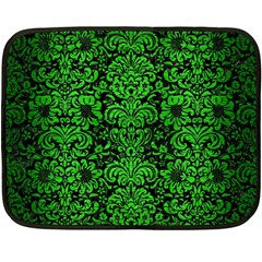 Damask2 Black Marble & Green Brushed Metal Fleece Blanket (mini)