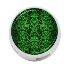 Damask2 Black Marble & Green Brushed Metal 4 Port Usb Hub (one Side)