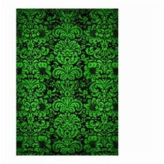 Damask2 Black Marble & Green Brushed Metal Small Garden Flag (two Sides)