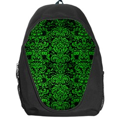 Damask2 Black Marble & Green Brushed Metal Backpack Bag
