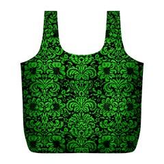 Damask2 Black Marble & Green Brushed Metal Full Print Recycle Bags (l)