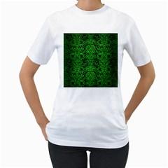 Damask2 Black Marble & Green Brushed Metal Women s T Shirt (white)