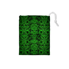 Damask2 Black Marble & Green Brushed Metal Drawstring Pouches (small)