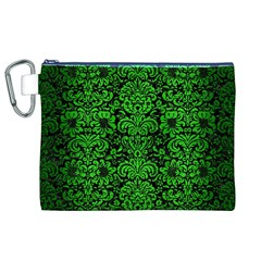 Damask2 Black Marble & Green Brushed Metal Canvas Cosmetic Bag (xl)