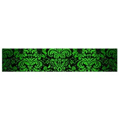 Damask2 Black Marble & Green Brushed Metal Flano Scarf (small)