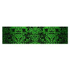 Damask2 Black Marble & Green Brushed Metal Satin Scarf (oblong)
