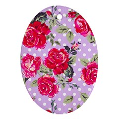 Shabby Chic,pink,roses,polka Dots Ornament (oval)
