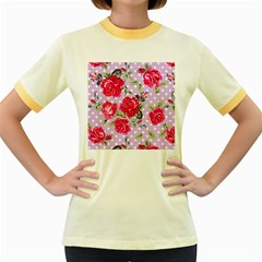 Shabby Chic,pink,roses,polka Dots Women s Fitted Ringer T Shirts
