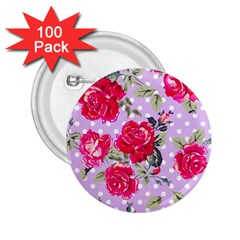 Shabby Chic,pink,roses,polka Dots 2 25  Buttons (100 Pack)