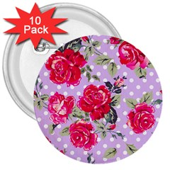 Shabby Chic,pink,roses,polka Dots 3  Buttons (10 Pack)