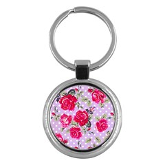 Shabby Chic,pink,roses,polka Dots Key Chains (round)