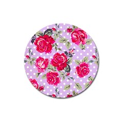 Shabby Chic,pink,roses,polka Dots Magnet 3  (round)