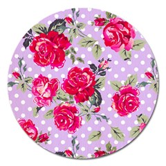 Shabby Chic,pink,roses,polka Dots Magnet 5  (round)