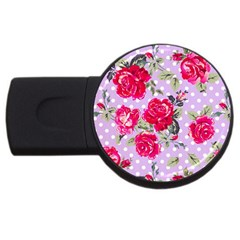 Shabby Chic,pink,roses,polka Dots Usb Flash Drive Round (2 Gb)
