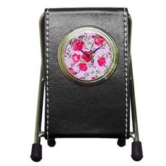 Shabby Chic,pink,roses,polka Dots Pen Holder Desk Clocks