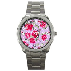 Shabby Chic,pink,roses,polka Dots Sport Metal Watch
