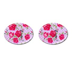Shabby Chic,pink,roses,polka Dots Cufflinks (oval)