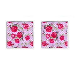 Shabby Chic,pink,roses,polka Dots Cufflinks (square)