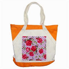 Shabby Chic,pink,roses,polka Dots Accent Tote Bag