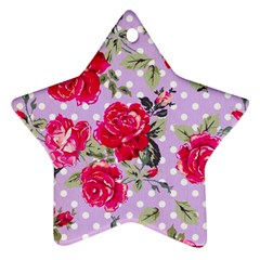 Shabby Chic,pink,roses,polka Dots Star Ornament (two Sides)