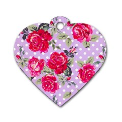 Shabby Chic,pink,roses,polka Dots Dog Tag Heart (two Sides)