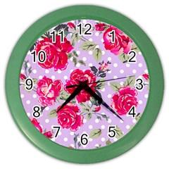 Shabby Chic,pink,roses,polka Dots Color Wall Clocks