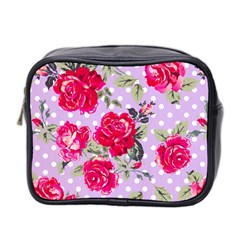 Shabby Chic,pink,roses,polka Dots Mini Toiletries Bag 2 Side