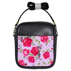 Shabby Chic,pink,roses,polka Dots Girls Sling Bags