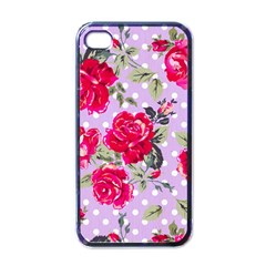 Shabby Chic,pink,roses,polka Dots Apple Iphone 4 Case (black)