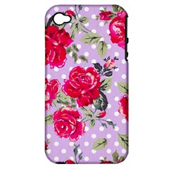 Shabby Chic,pink,roses,polka Dots Apple Iphone 4/4s Hardshell Case (pc+silicone)