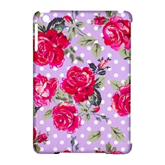Shabby Chic,pink,roses,polka Dots Apple Ipad Mini Hardshell Case (compatible With Smart Cover)