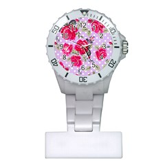 Shabby Chic,pink,roses,polka Dots Plastic Nurses Watch