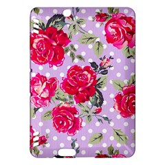 Shabby Chic,pink,roses,polka Dots Kindle Fire Hdx Hardshell Case