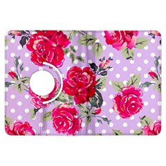 Shabby Chic,pink,roses,polka Dots Kindle Fire Hdx Flip 360 Case