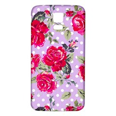 Shabby Chic,pink,roses,polka Dots Samsung Galaxy S5 Back Case (white)