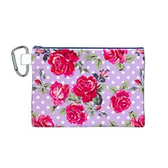 Shabby Chic,pink,roses,polka Dots Canvas Cosmetic Bag (m)