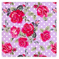 Shabby Chic,pink,roses,polka Dots Large Satin Scarf (square)