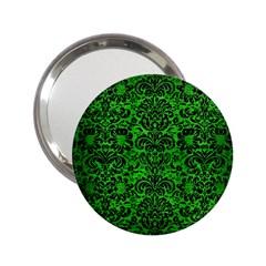 Damask2 Black Marble & Green Brushed Metal (r) 2 25  Handbag Mirrors