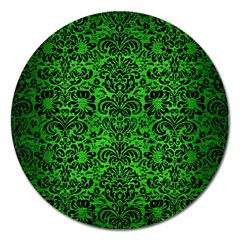 Damask2 Black Marble & Green Brushed Metal (r) Magnet 5  (round)