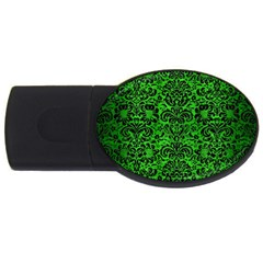 Damask2 Black Marble & Green Brushed Metal (r) Usb Flash Drive Oval (4 Gb)