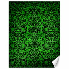 Damask2 Black Marble & Green Brushed Metal (r) Canvas 12  X 16