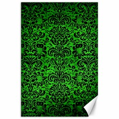 Damask2 Black Marble & Green Brushed Metal (r) Canvas 24  X 36