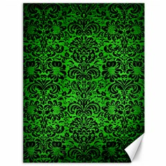 Damask2 Black Marble & Green Brushed Metal (r) Canvas 36  X 48