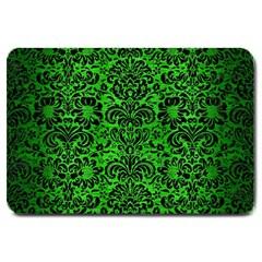 Damask2 Black Marble & Green Brushed Metal (r) Large Doormat