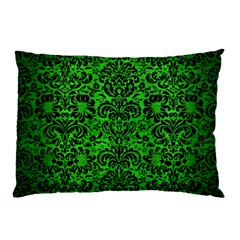 Damask2 Black Marble & Green Brushed Metal (r) Pillow Case