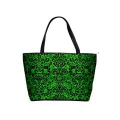 Damask2 Black Marble & Green Brushed Metal (r) Shoulder Handbags